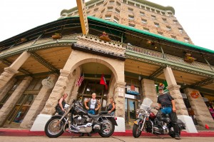 Bikers enjoy Downtown Eureka Springs at the Basin Park Hotel